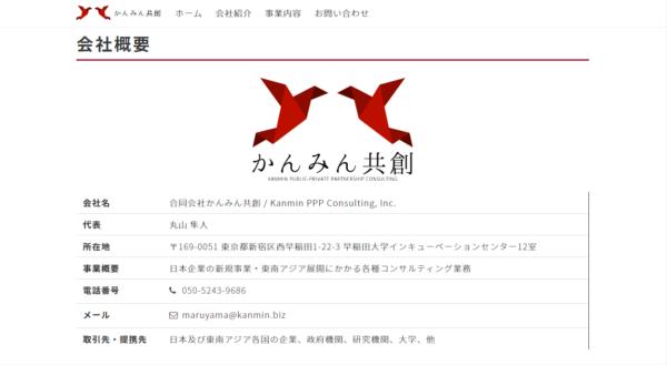 丸山隼人容疑者が経営をしている合同会社かんみん共創